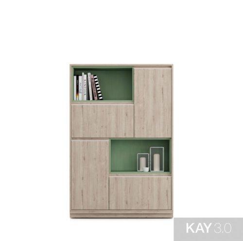 Aparador alto con dos huecos en color Verde té para libros o decoración