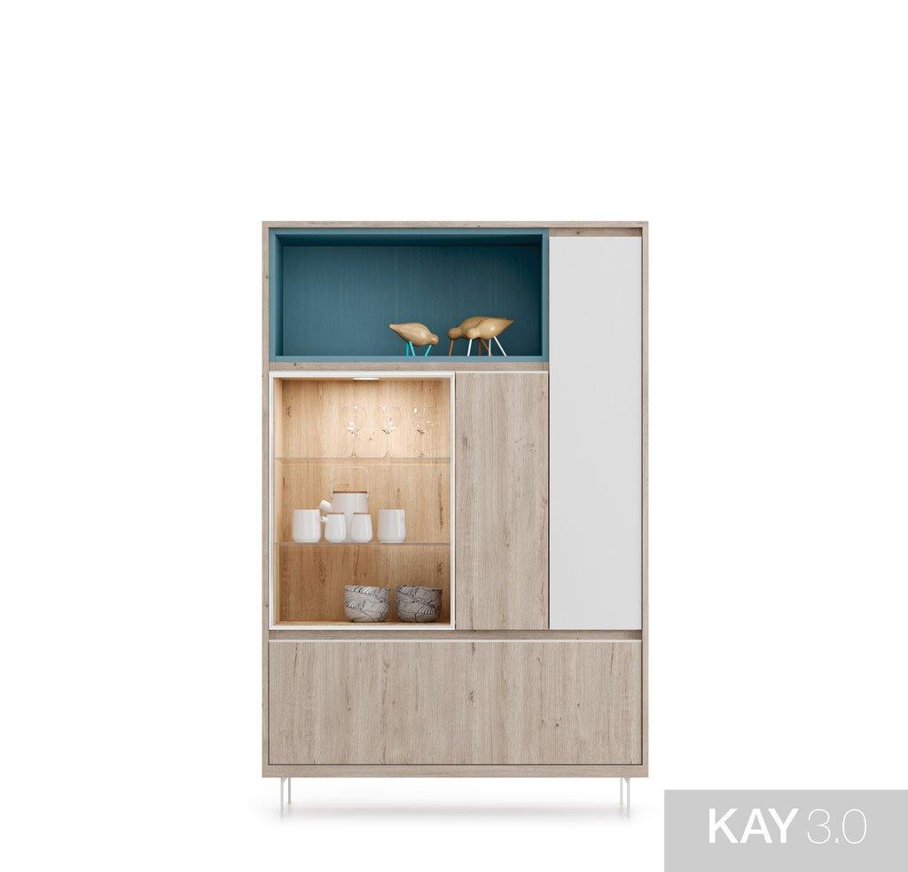 Aparador combinado con vitrina vertical, puertas batientes y abatibles con un hueco