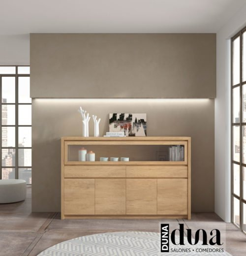 Aparador con una vitrina horizontal en color Teka