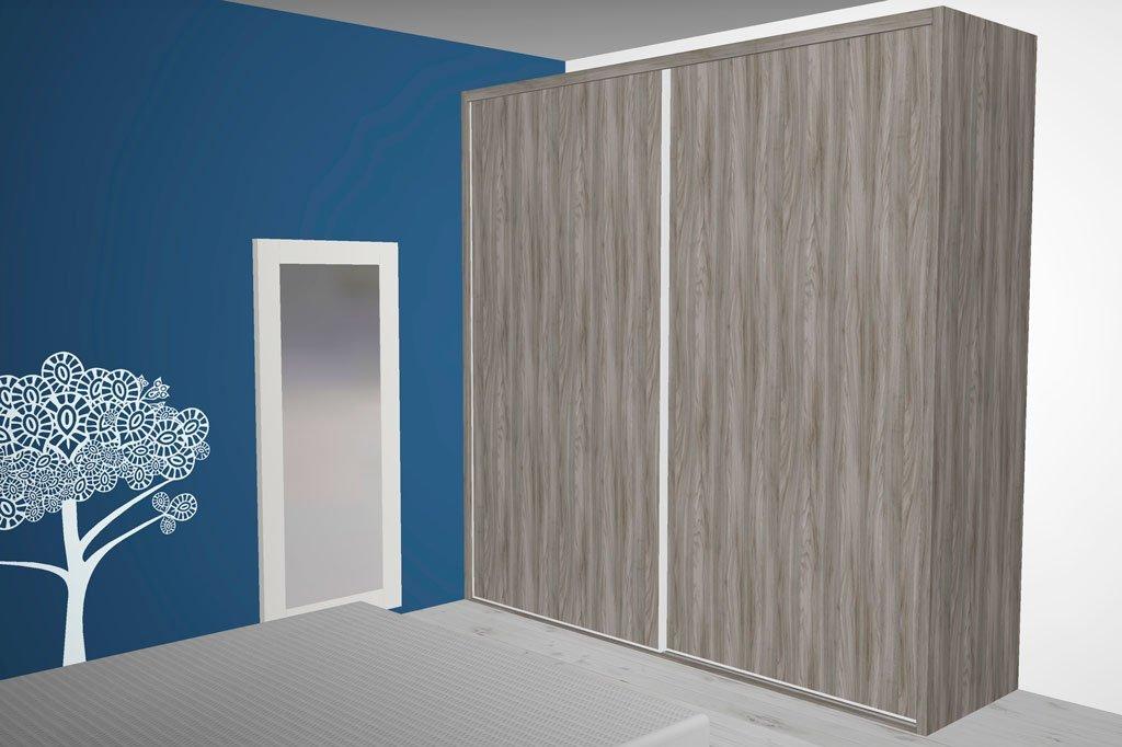 Armario de dos puertas correderas en color Peral