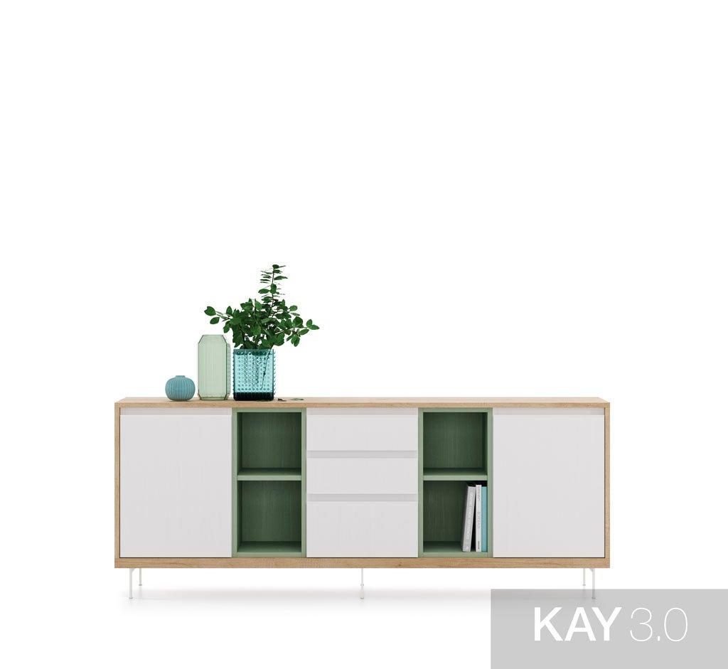 Buffet aparador que combina puertas, cajones y estantes en el mismo mueble