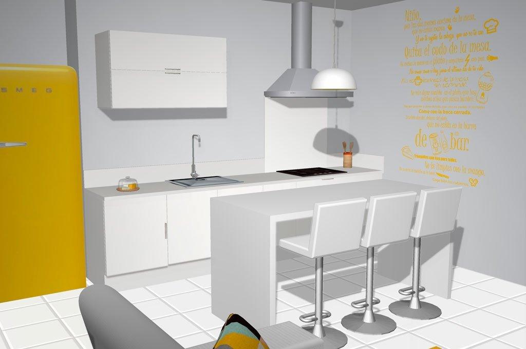 Cocina del loft con mesa alta