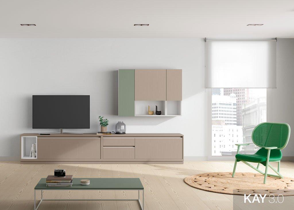 Composición de salón con mueble para televisión con estantería colgada