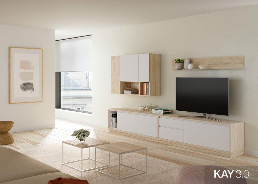 Composición de salón con mueble TV con colores claros