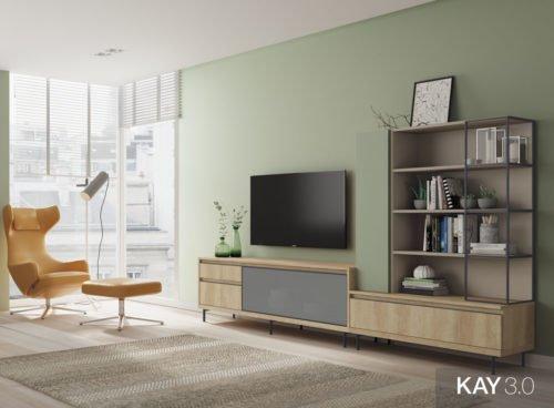 Composición de salón con mueble tv junto a una estantería con marco metálico