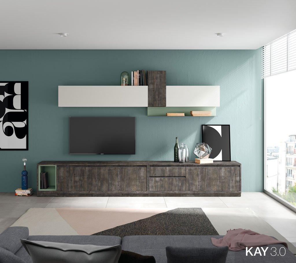 Composición de salón con los muebles en color Borneo, Blanco y Verde té