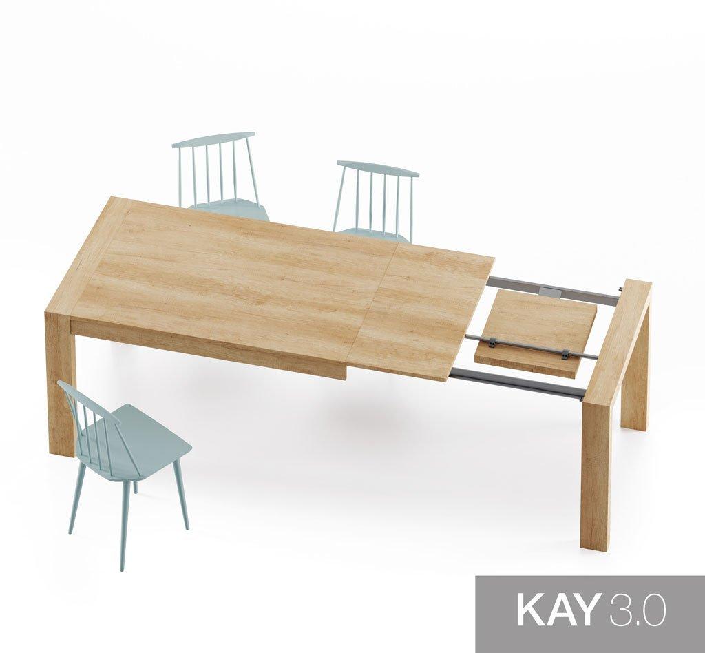 Detalle de las dos extensiones de la mesa de comedor extensible