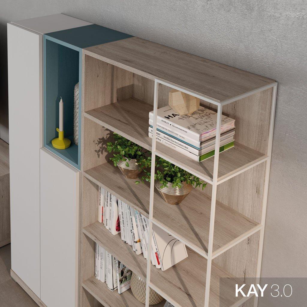 Detalle de la estantería vertical con el marco metálico en color Blanco