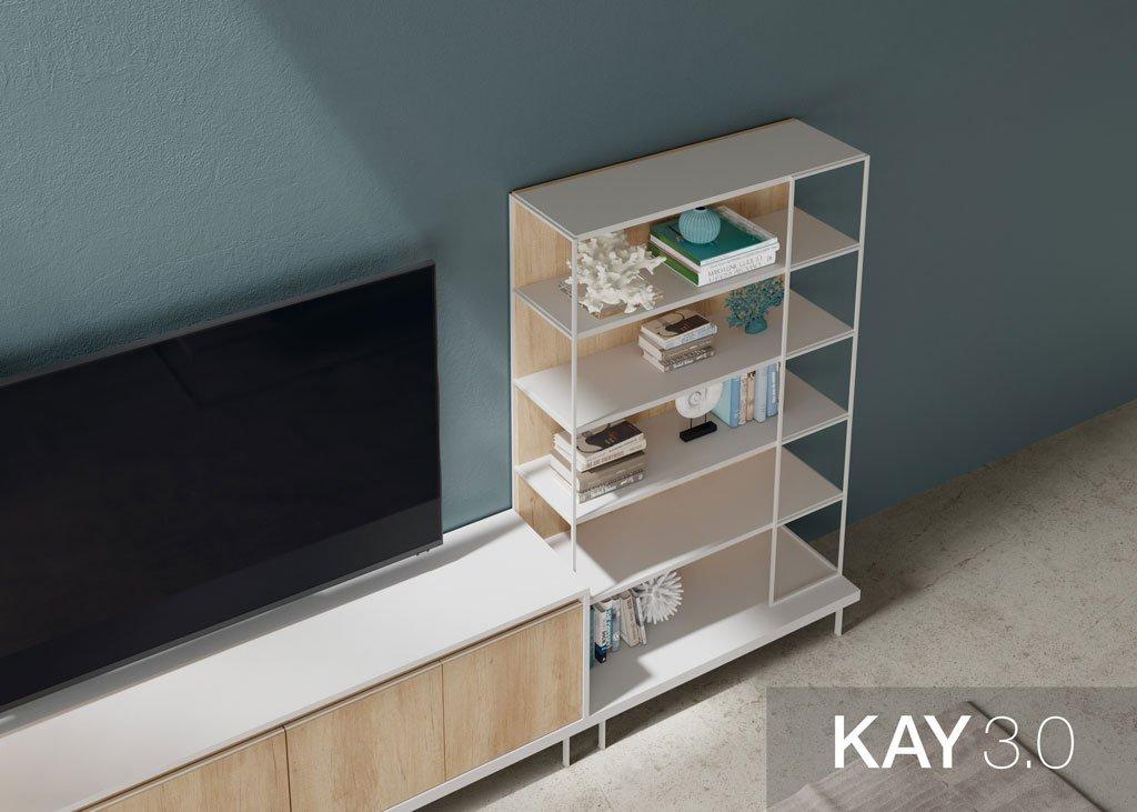 Detalle de la estantería con el marco metálico en color Blanco