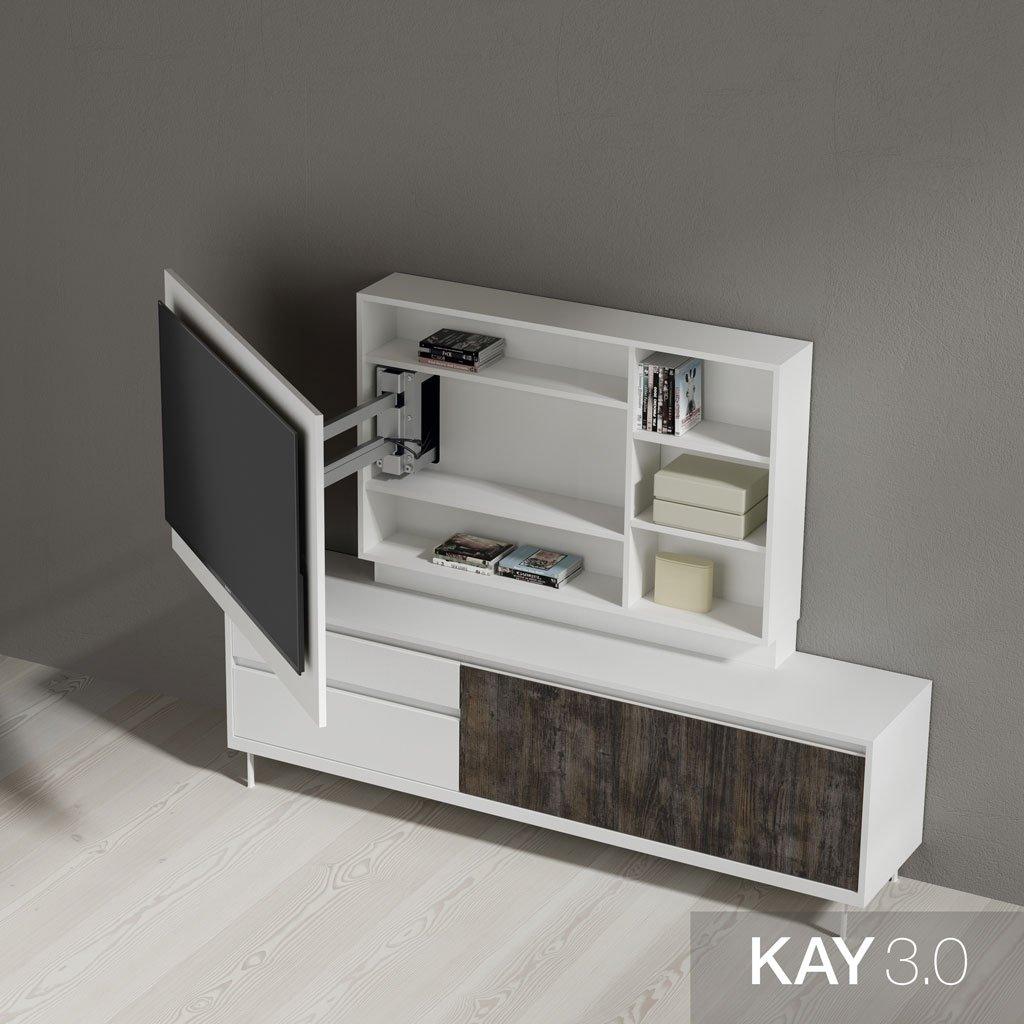Detalle de las estanterías tras el panel tv giratorio