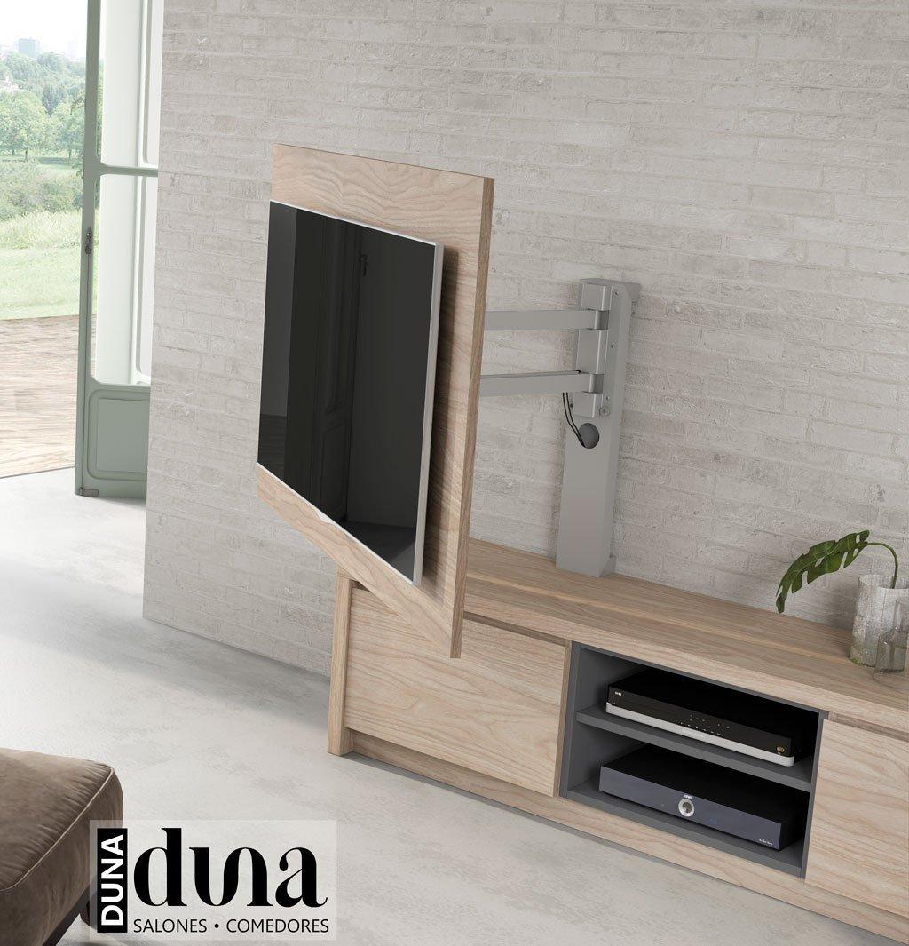 Detalle de panel ocultar cables TV giratorio modelo 101 con un soporte muy robusto