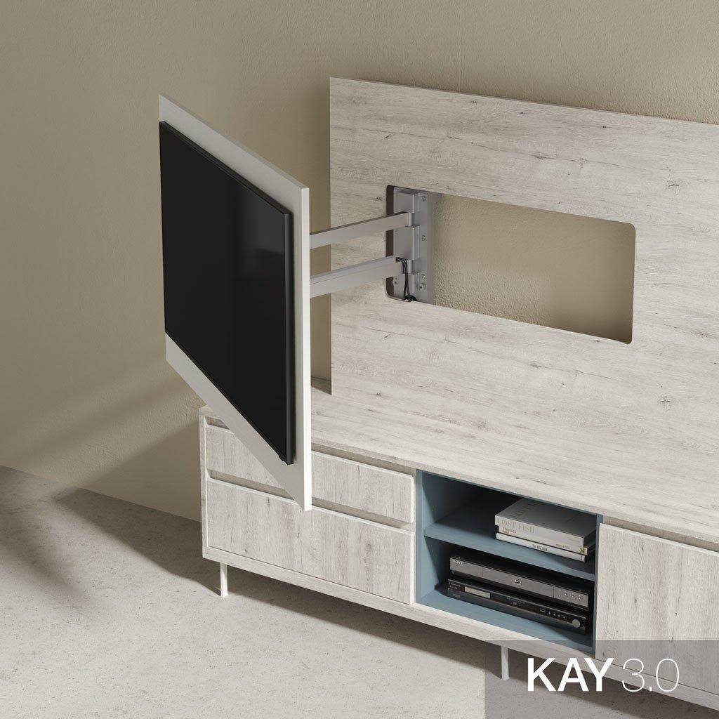 Detalle panel de madera para TV giratorio