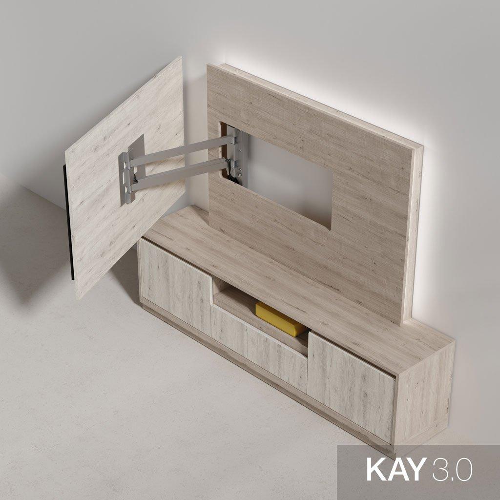 Detalle panel tv pared madera con luz led ambiental en la parte trasera