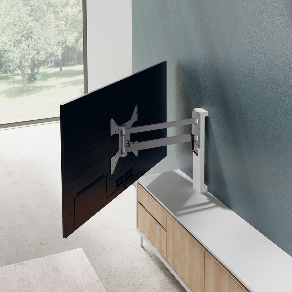 Detalle del soporte TV giratorio metálico anclado en la pared