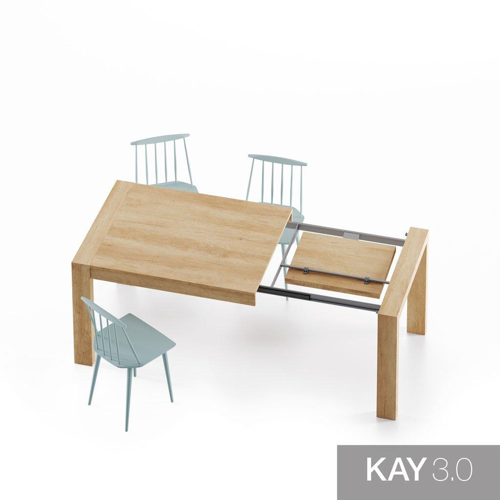 Detalle de la extensión de la mesa de comedor extensible