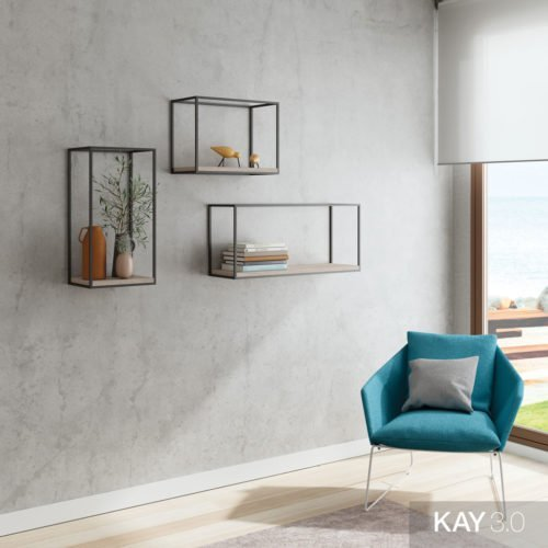 Estanterías decorativas con estructura metálica colgadas a pared