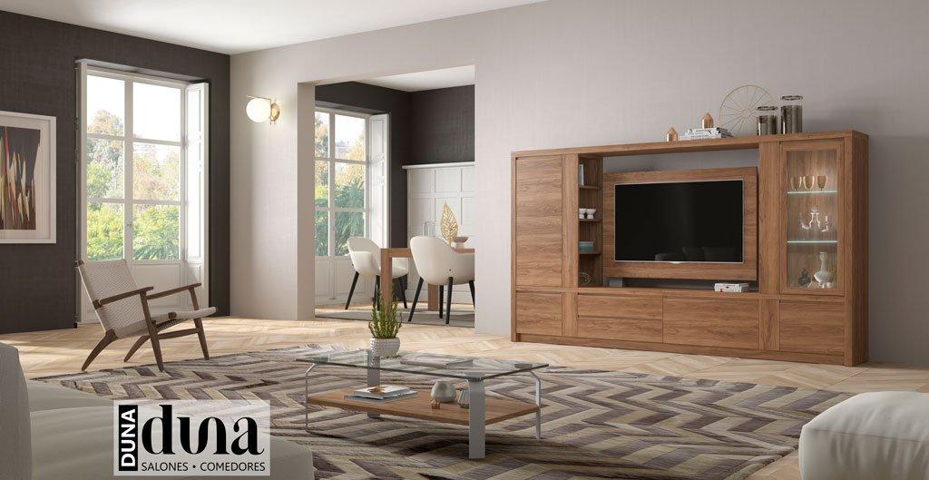 Muebles de salón comedor con un panel TV con el complemento de las mesas