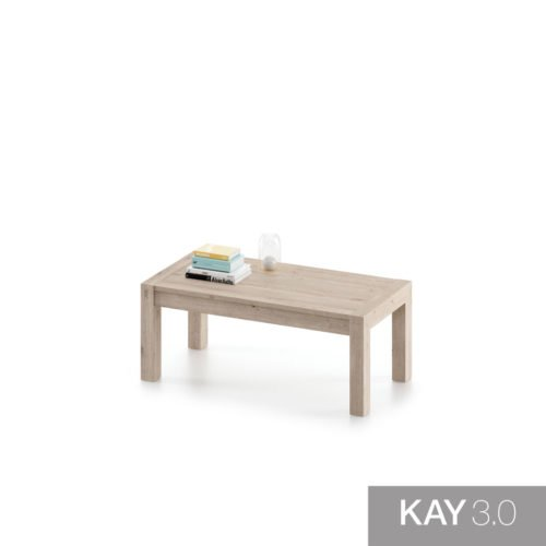 Mesa de centro elevable de madera color Roble rock