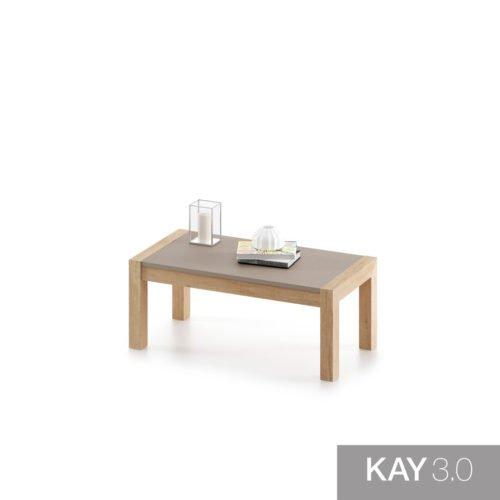 Mesa de centro elevable en color Teka modelo U cerrada