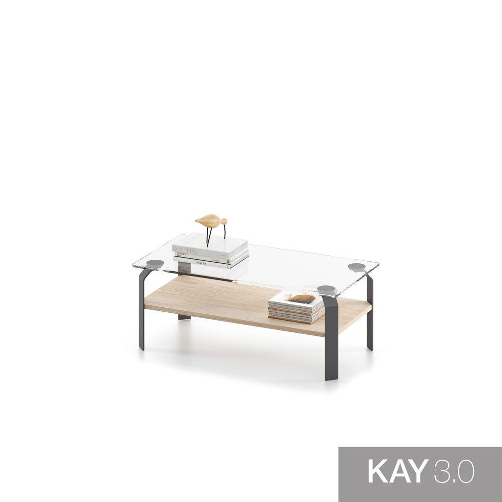 Mesa de centro con el sobre de cristal y el estante de madera modelo F