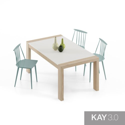 Mesa de comedor extensible modelo U con el sobre en color Blanco