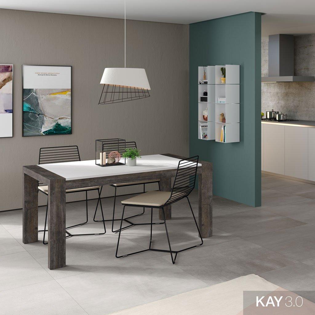 Mesa de comedor extensible modelo U que combina los colores Borneo y Blanco