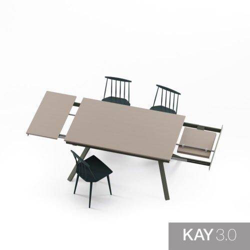 Mesa de comedor extensible modelo X abierta con las dos extensiones
