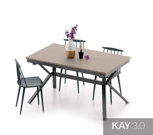 Mesa de comedor extensible modelo X cerrada