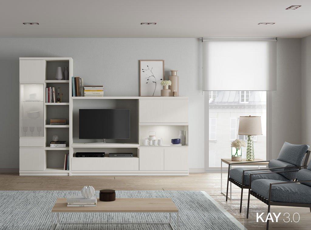 Mobiliario de salón en color Blanco con una vitrina vertical