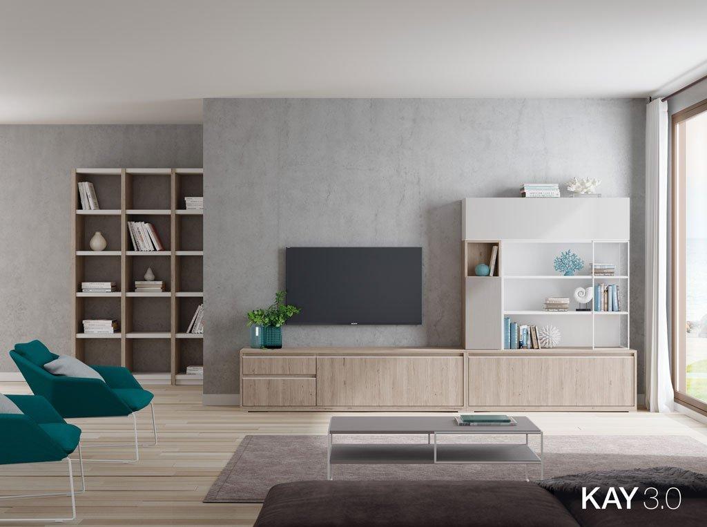 Mobiliario de salón en color Roble rock con estanterías y módulos de puertas