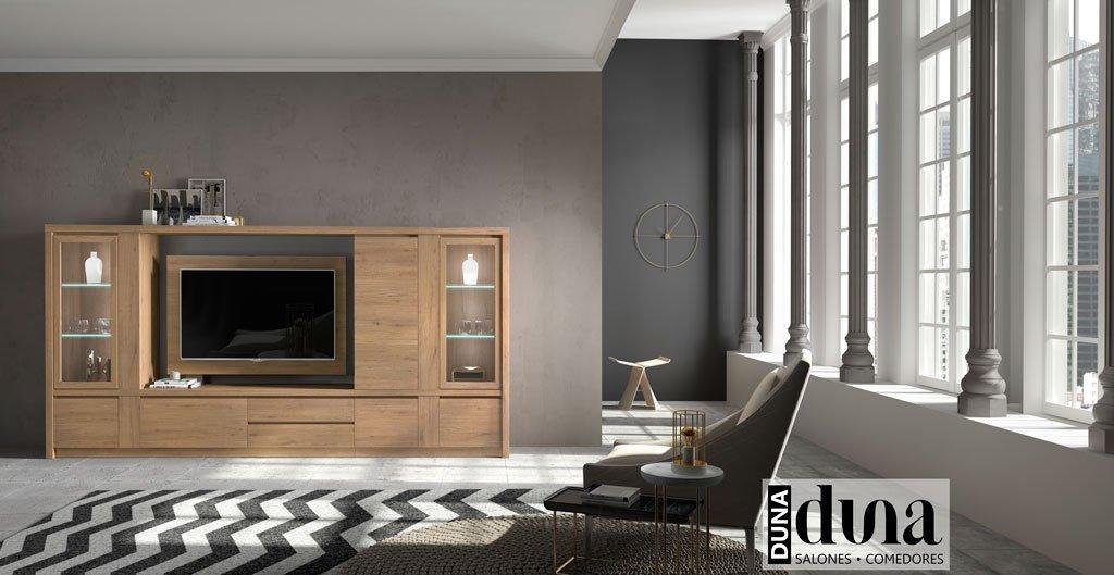 Mobiliario de salón de la colección Duna en color Roble nudos
