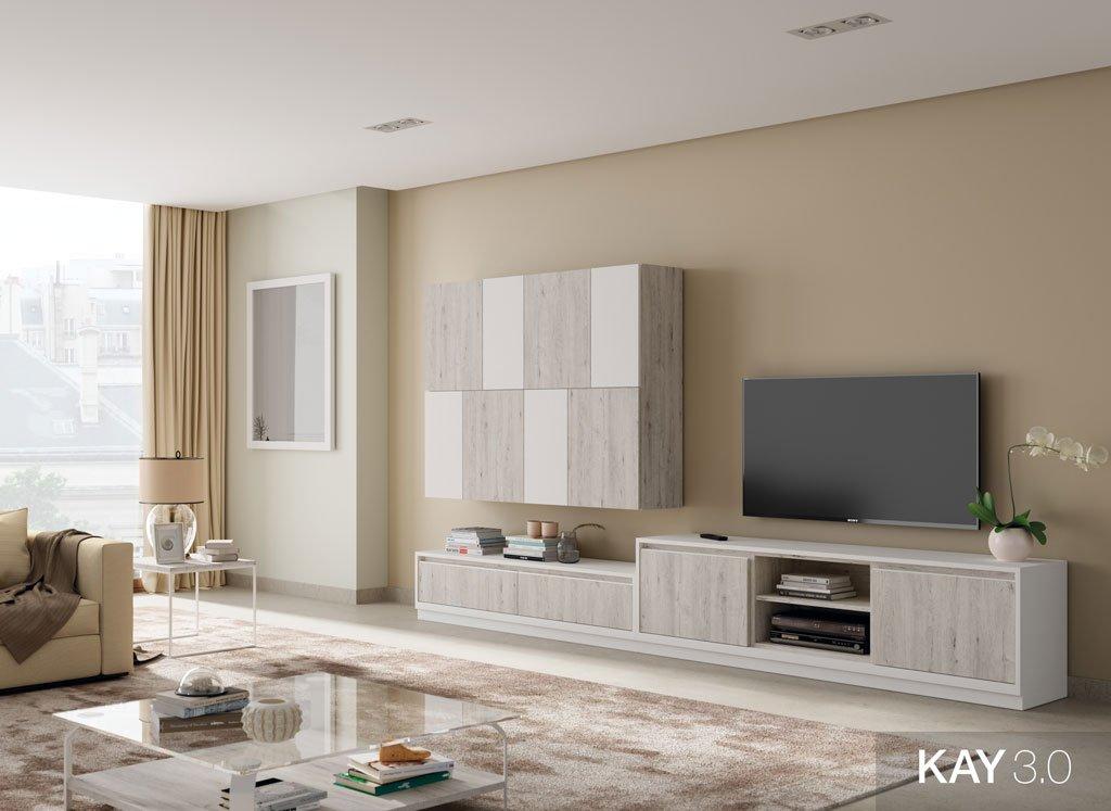 Mobiliario salón moderno en color Fresno y Blanco combinados