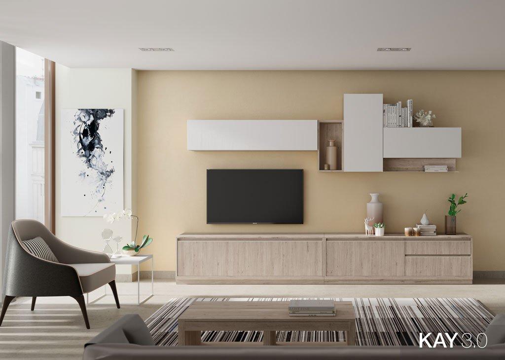Mobiliario de salón con un mueble tv y unas estanterías colgadas a pared