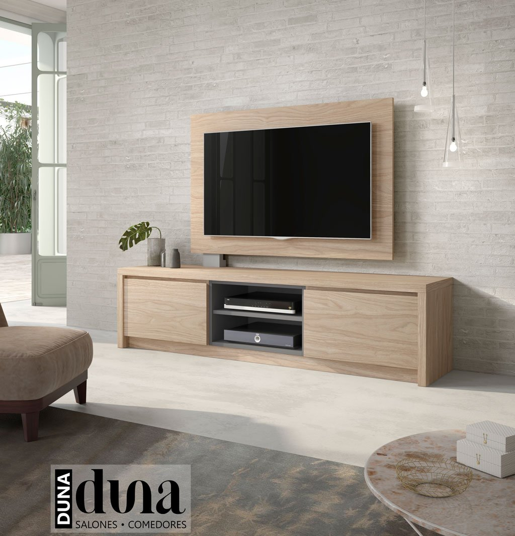 Mueble TV modelo D106C con un doble hueco central para elementos multimedia