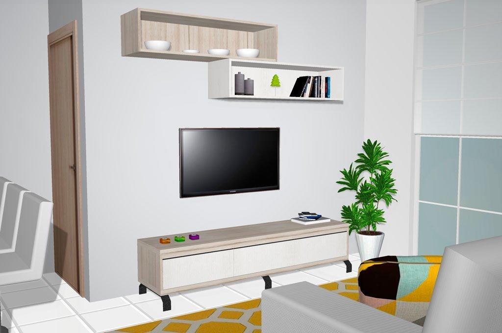 Mueble bajo TV con estanterías para decoración