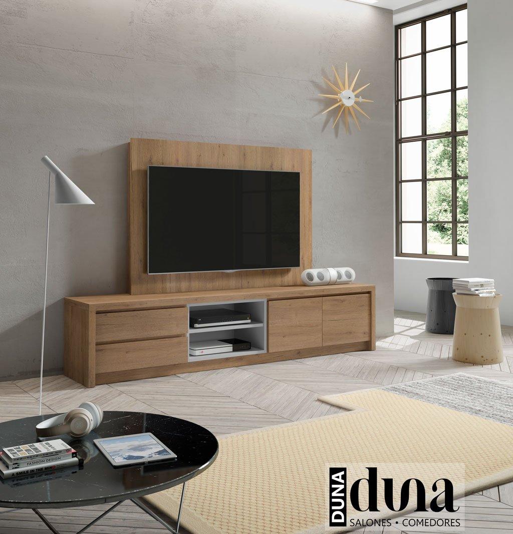 Mueble con panel de televisión modelo D112C con cajones, hueco doble y puertas