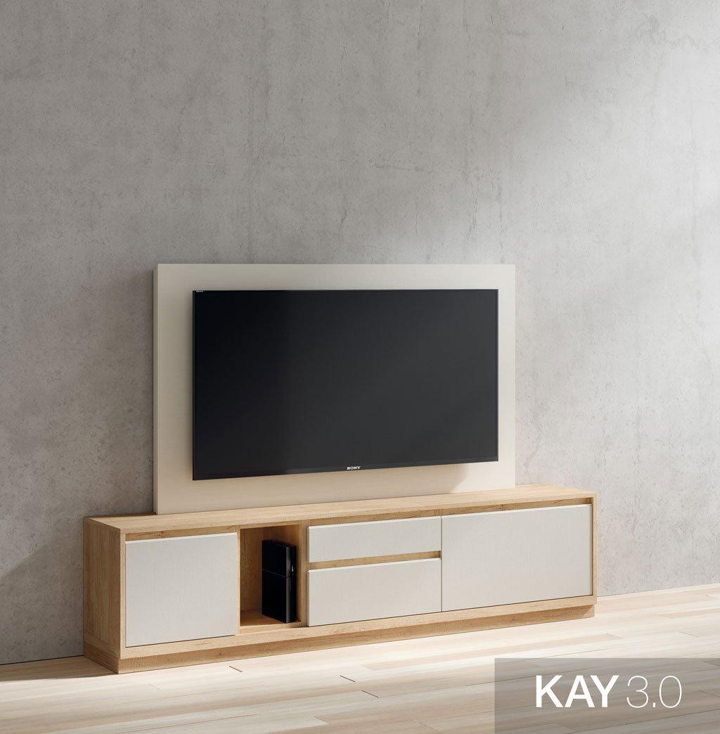 Mueble de televisión combinado en Teka y Blanco