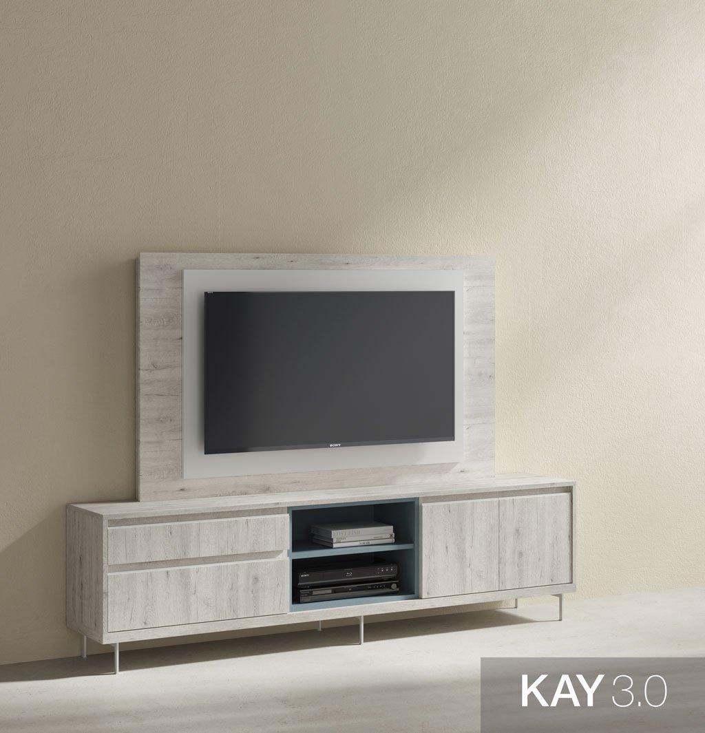 Mueble de televisión giratorio con patas metálicas
