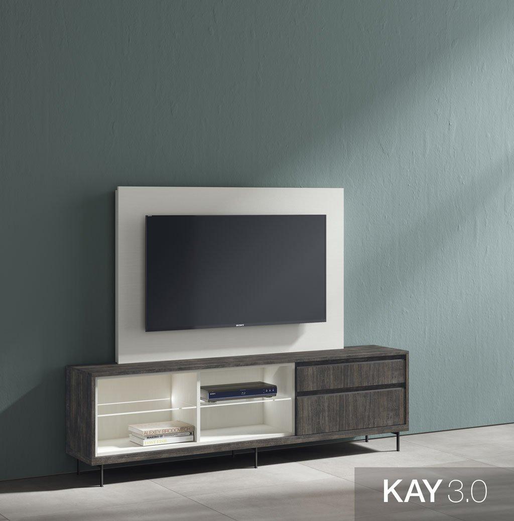 Mueble de televisión con el panel TV fijo Blanco en la pared