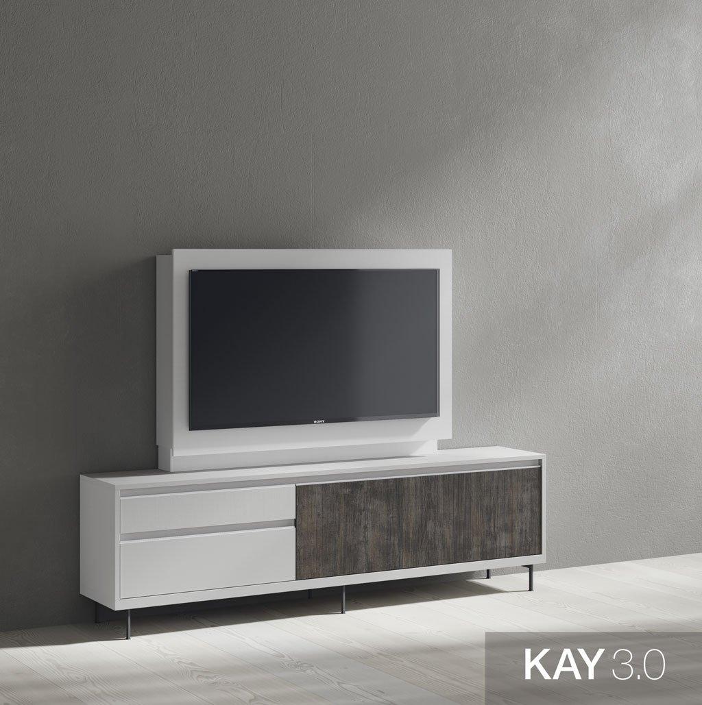 Mueble TV Blanco con un panel giratorio con estanterías ocultas