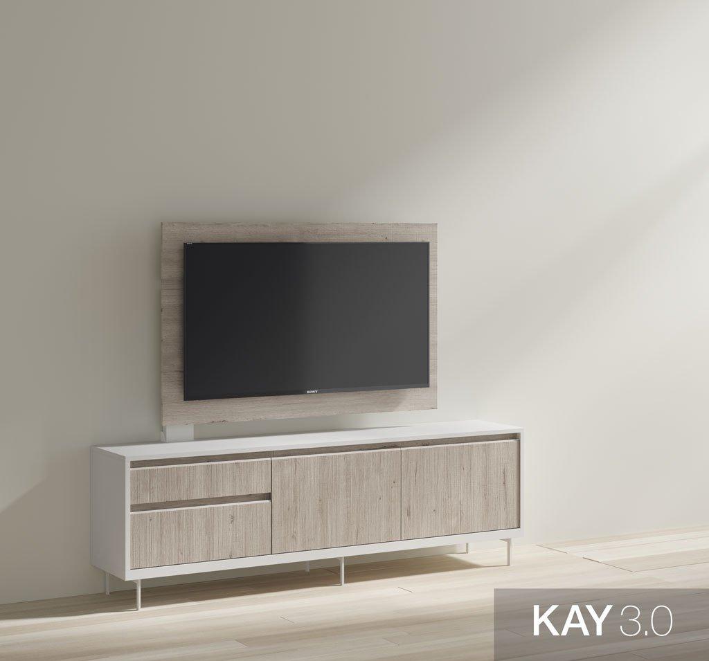 Mueble tv Blanco con las patas metálicas y con soporte de panel tv giratorio