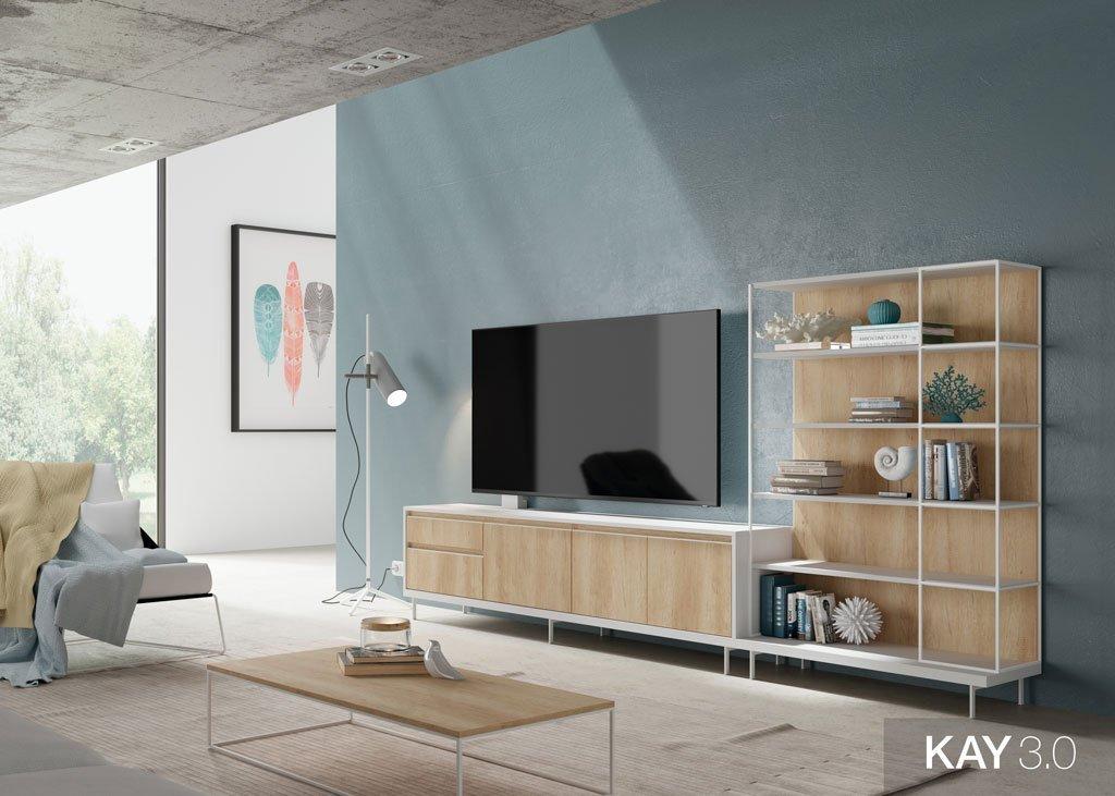 Mueble tv para el salón con estanterías con el marco metálico