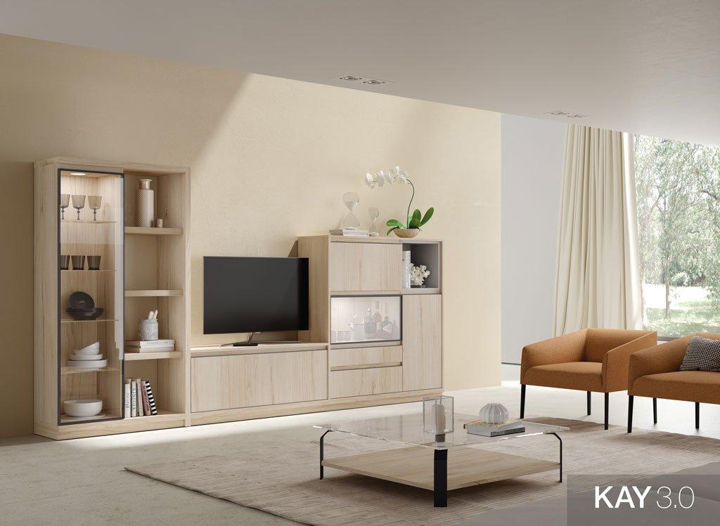 Muebles color Bambú para TV acompañado por una vitrina vertical