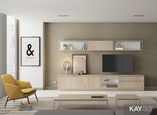 Muebles de salón en color Bambú con cajones y estantes
