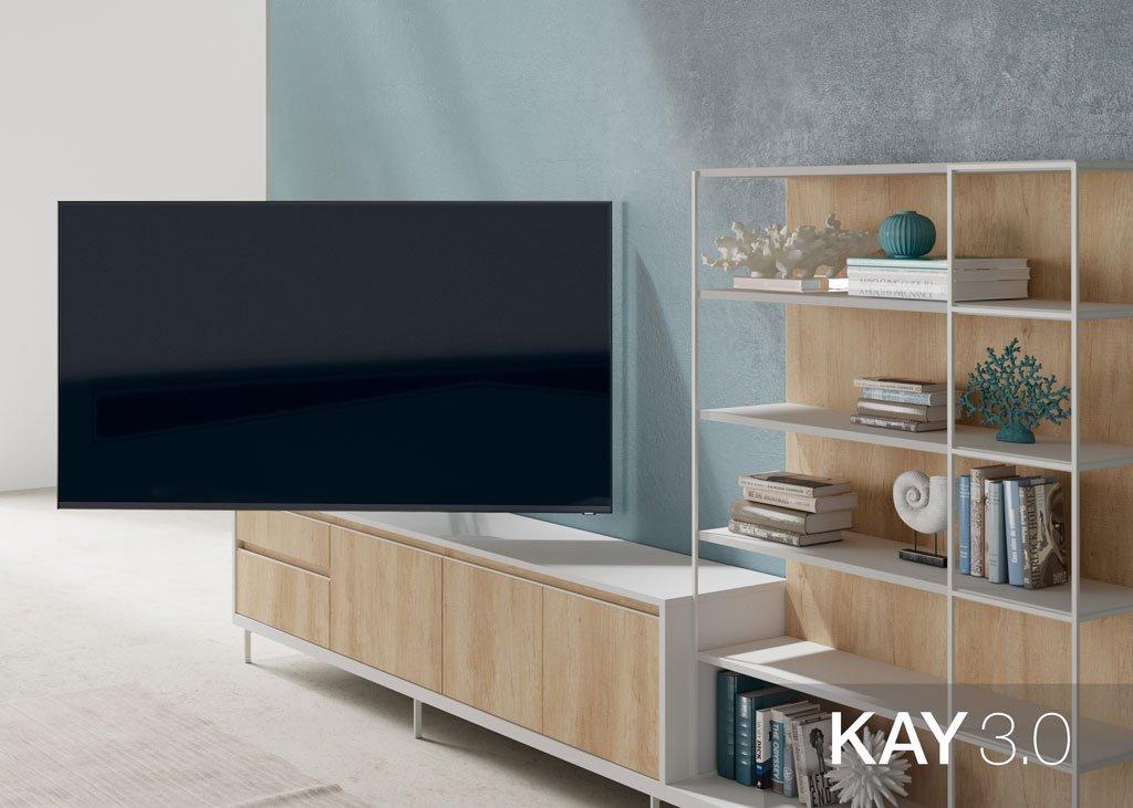 Panel TV giratorio 180 grados junto a la composición de salón