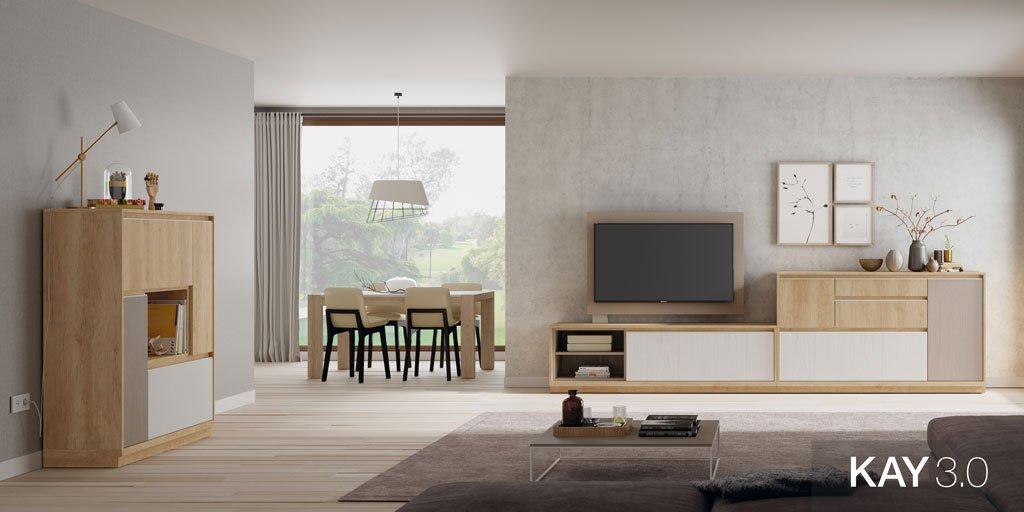 Salón comedor moderno con un mueble tv, un aparador y una mesa extensible