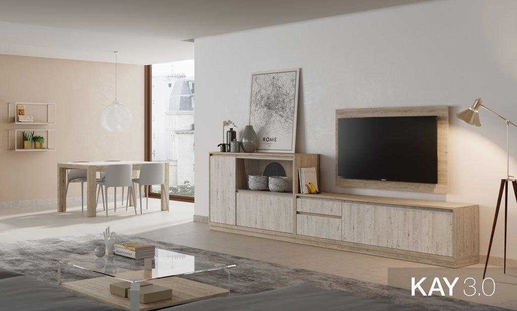 Salón comedor con un mueble con panel TV y una mesa comedor extensible