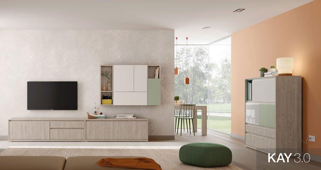 Salón comedor con mueble tv junto al aparador en color Roble