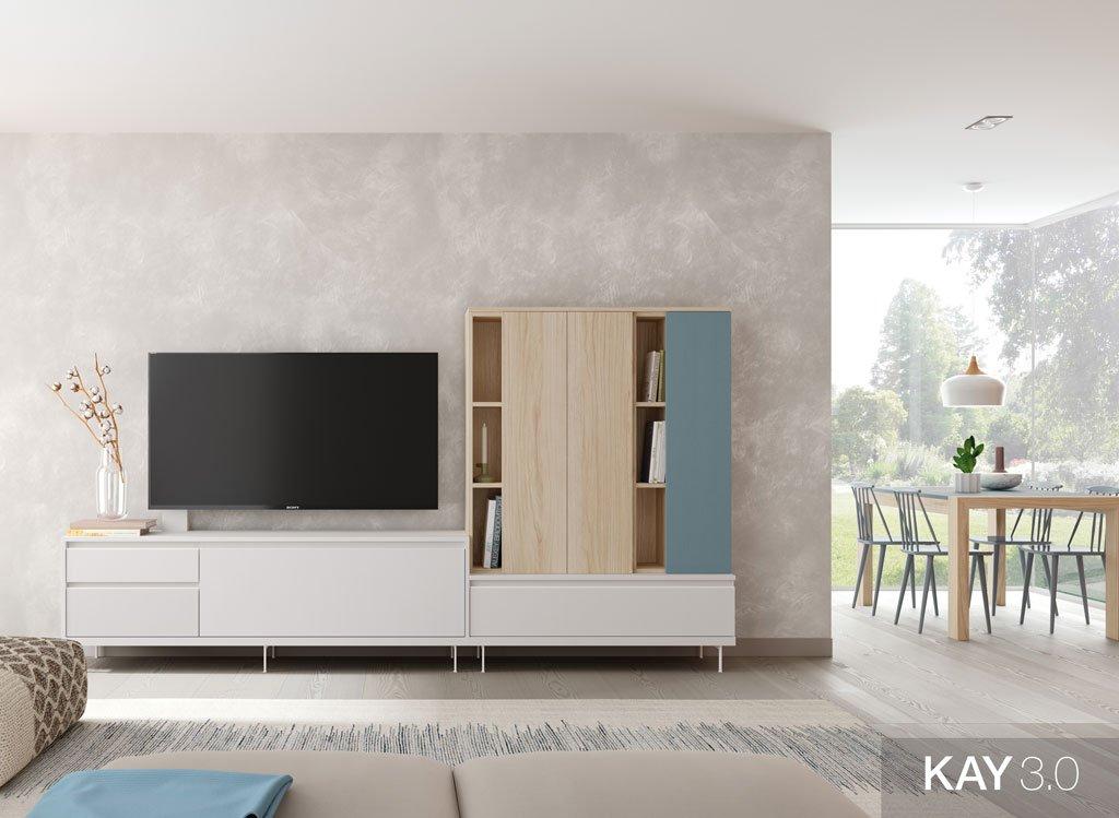 Salón comedor moderno con mueble tv en color Blanco más unas estanterías