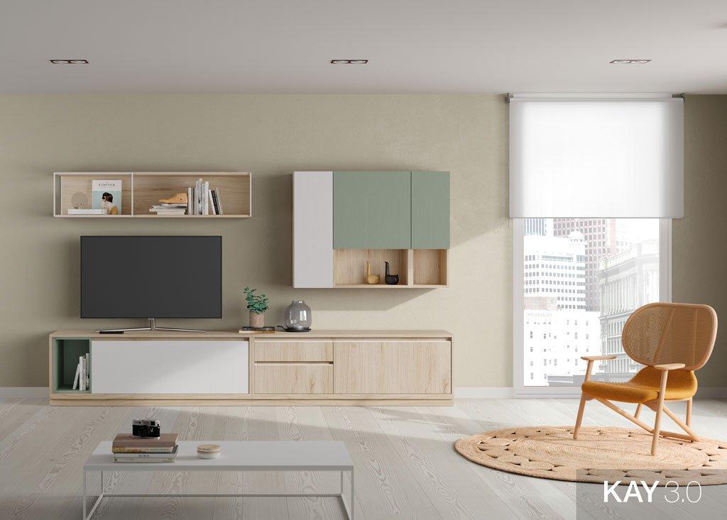 Salón con un mueble para la televisión y unas estanterías colgadas en la pared